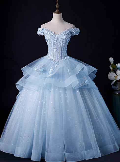 Is Now Available. Sky Blue Ball Gown Tulle Off the Shoulder Appliques Quinceanera Dress