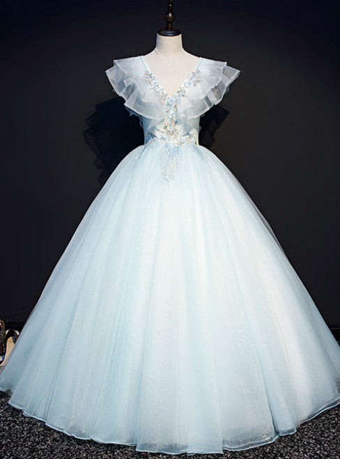 You Are Sure To Find The Perfect Sky Blue Ball Gown Tulle V-neck Appliques Quinceanera Dress