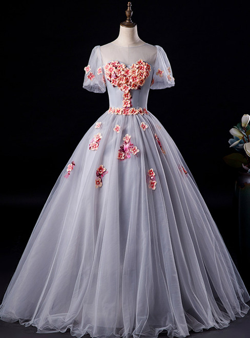 Available In Sizes 0-24 Gray Ball Gown Tulle Appliques Short Sleeve Quinceanera Dress
