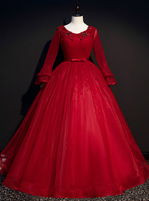 Come In All Styles And Colors Burgund Ball Gown Tulle Long Sleeve Appliques Quinceanera Dress
