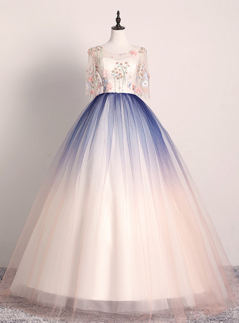 Best For You Pink Blue Ball Gown Tulle Embroidery Short Sleeve Quinceanera Dress