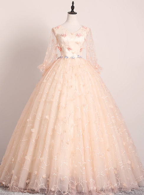 Shops Around The World Champagne Pink Ball Gown Tulle V-neck Long Sleeve Flower Quinceanera Dress