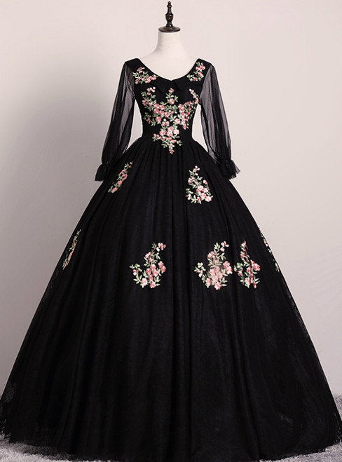 Check Out Entire Collection Black Ball Gown Tulle V-neck Long Sleeve Appliques Quinceanera Dress