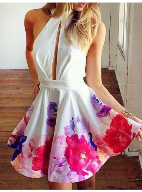 Short Keyhole A-line Sleeveless Jewel Mini Printed Homecoming Dress