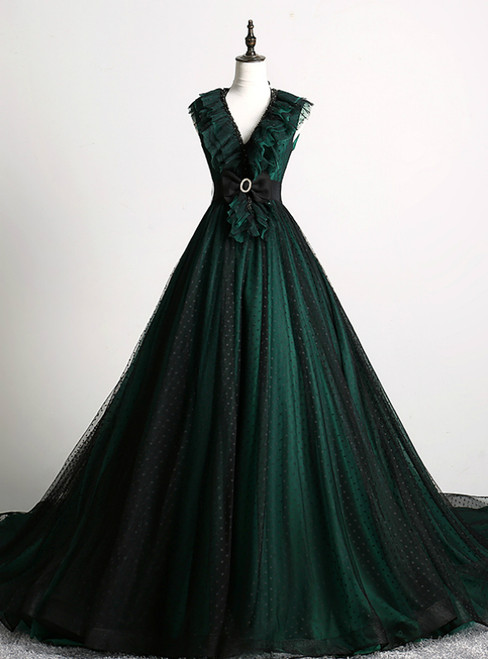 Make Your Prom a Dream Dark Green Ball Gown Tulle V-neck Backless Quinceanera Dress With Train