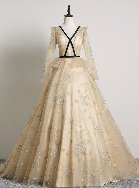 An Extra 40% Off Storewide Champagne Ball Gown Tulle V-neck Long Sleeve Quinceanera Dress