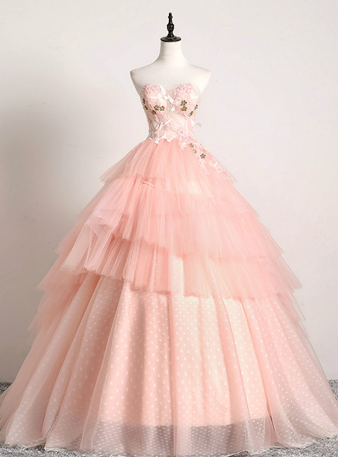 In One Step Pink Ball Gown Tulle Sweetheart Embrodiery Quinceanera Dress