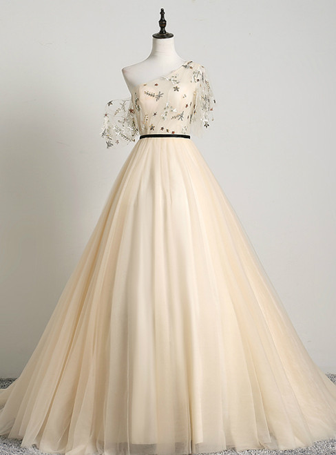 Is a Rite Of Passage Champagne Ball Gown Tulle One Shoulder Sequins Quinceanera Dress