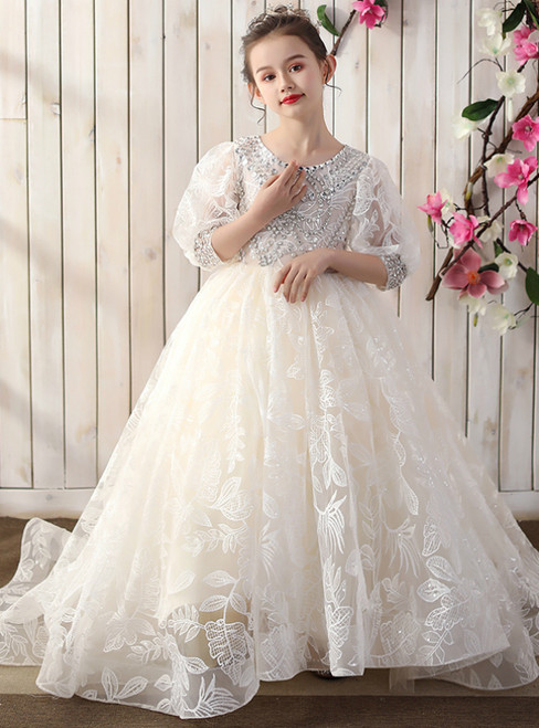 Discover The Latest Champagne Ball Gown Tulle Lace 3/4 Sleeve Beading Flower Girl Dress