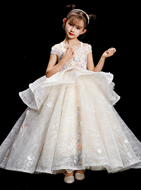 Purchase Your Favorite Champagen Ball Gown Tulle Lace Off the Shoulder Appliques Flower Girl Dress