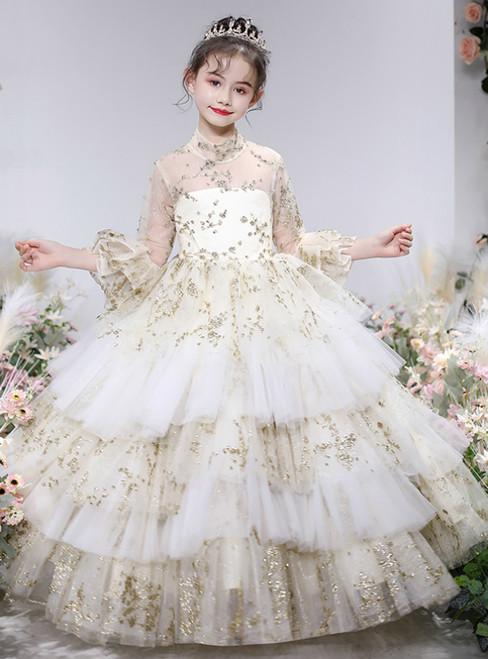 We Provide Champagne Ball Gown Tulle Sequins Short Sleeve Flower Girl Dress