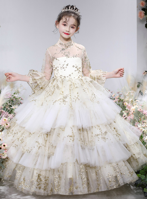 We Provide Champagne Ball Gown Tulle Sequins Short Sleeve Flower Girl Dress