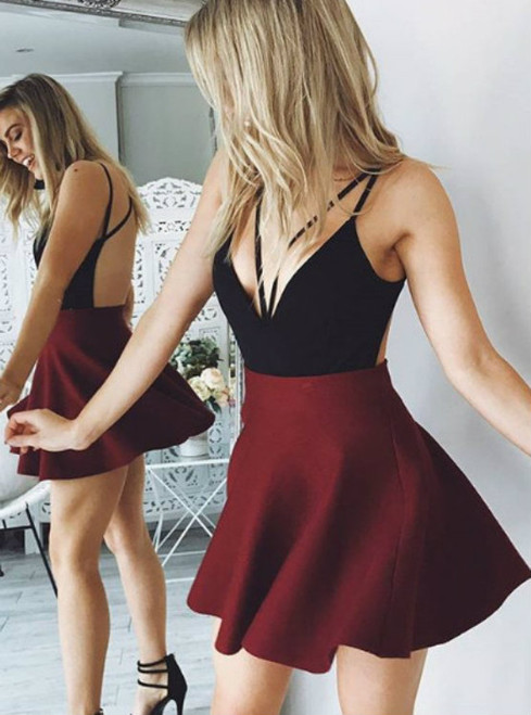 Cute V-Neck Homecoming Dress with Wine Skirt Backless Party Dress
