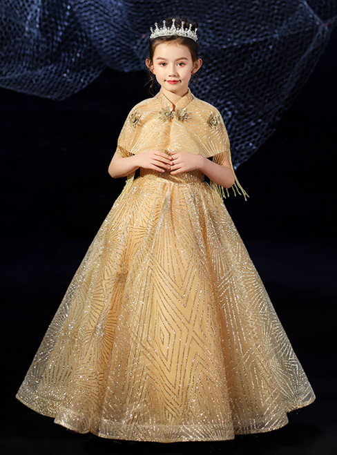 You Are Sure To Find The Perfect Gold Ball Gow Tulle Sequins V-neck Flower Girl Dress