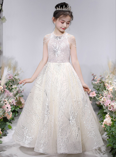 The Worldwide Shipping Online Store Champagne Ball Gown Sequins Beading Flower Girl Dress