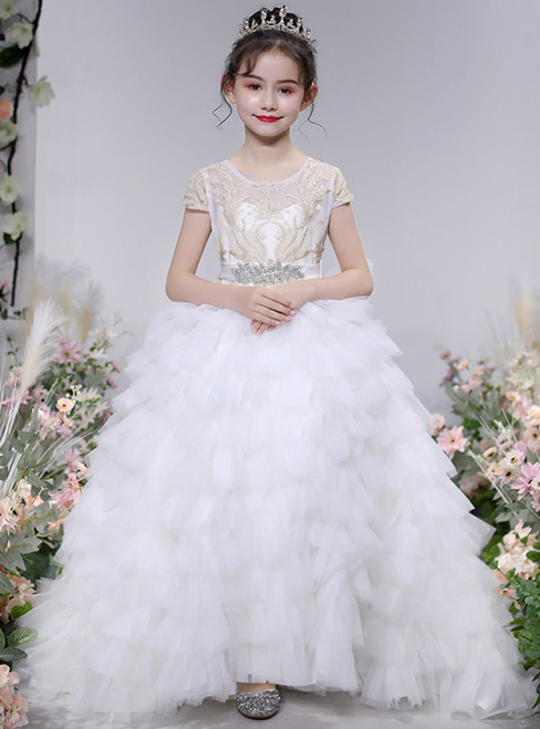 For Your Big Night White Ball Gown Tulle Tiers Cap Sleeve Appliques Flower Girl Dress