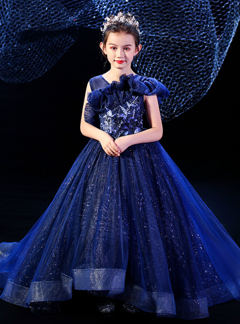 Come In All Styles And Colors Dark Blue Ball Gown Tulle Sequins Appliques Flower Girl Dress