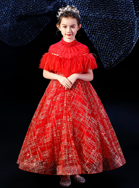 Find Your Dress For Prom! Red Ball Gown Tulle Sequins Beading High Neck Flower Girl Dress