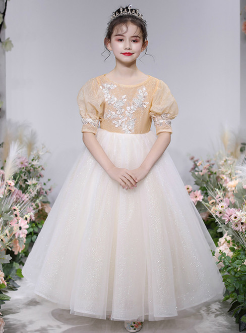 Best For You Light Champagne Ball Gown Tulle Puff Sleeve Flower Girl Dress