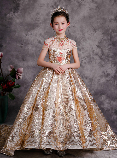 Is Now Available. Gold Ball Gown Sequins High Neck Beading Cap Sleeve Flower Girl Dress
