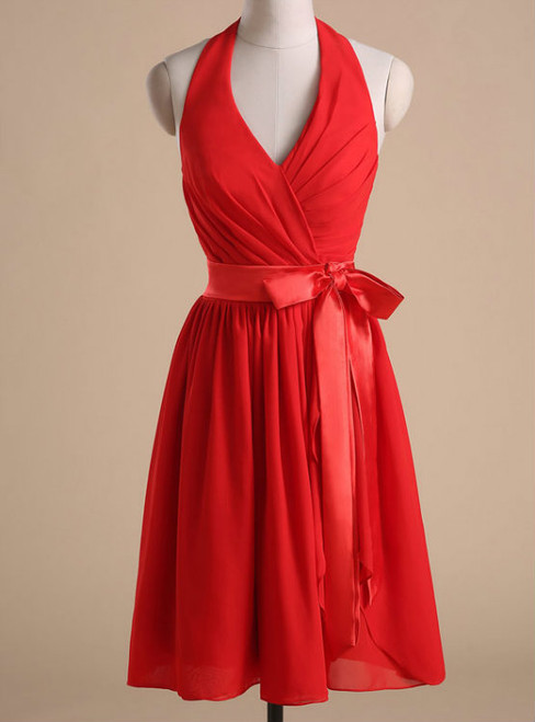 Red Chiffon Halter Homecoming Dress 2017 Cocktail Dresses  Bow Accent Waist