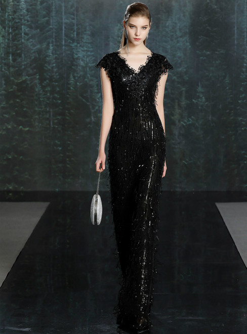 The Worldwide Shipping Online Store Black Mermaid Sequins Lace V-neck Cap Sleeve Mother of the Bride Dress
