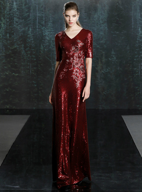 At Great Prices Burgundy Mermaid Sequins V-neck Short Sleeve Mother of the Bride Dress