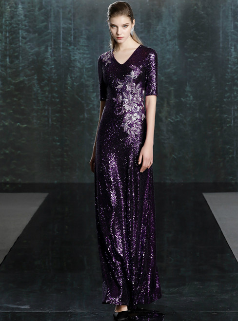 For Your Big Night Purple Mermaid Sequins V-neck Short Sleeve Mother of the Bride Dress