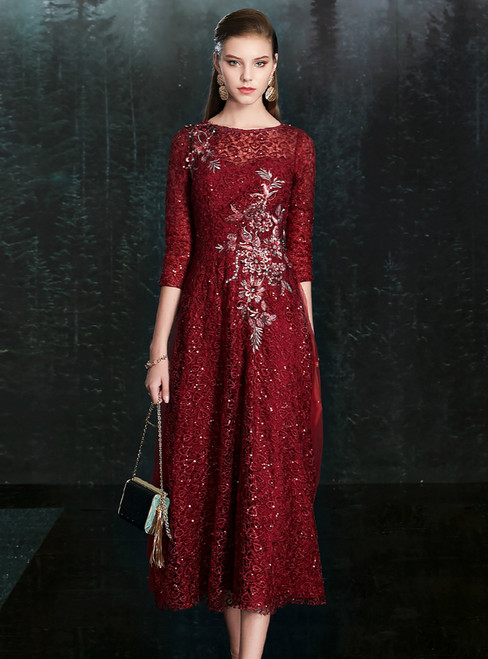 Available In Sizes 0-24 Burgundy Lace Sequins 3/4 Sleeve Tea Length Mother of the Bride Dress