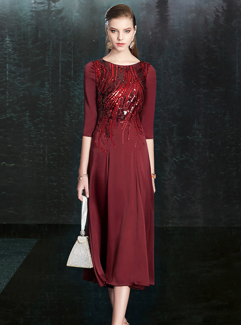 Come In All Styles And Colors A-Line Burgundy Chiffon Sequins 3/4 Sleeve Mother of the Bride Dress
