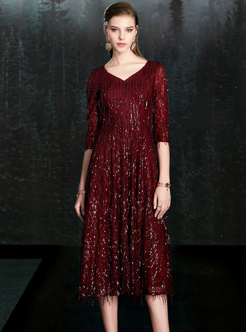 Find Your Dress For Prom! A-Line Burgundy V-neck 3/4 Sleeve Sequins Mother of the Bride Dress