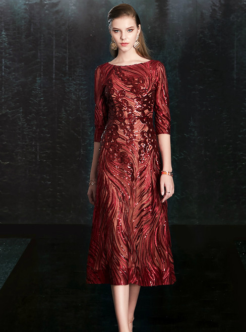Best For You A-Line Burgundy Bateau Half Sleeve Sequins Mother of the Bride Dress