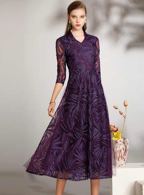 Is Now Available. A-Line Purple Tulle V-neck 3/4 Sleeve Tea Length Mother of the Bride Dress