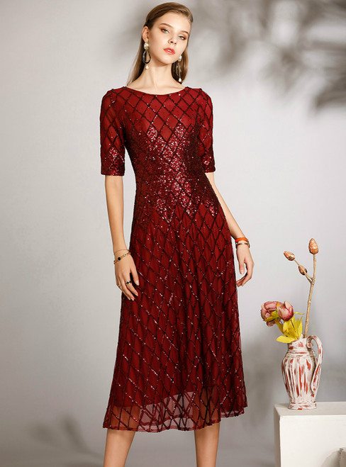 Shops Around The World A-Line Burgundy Tulle Sequins Short Sleeve Mother of the Bride Dress