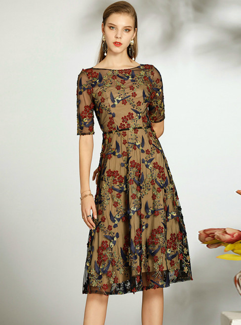 Check Out Entire Collection Colorful Tulle Embroidery Flower Knee Length Mother of the Bride Dress