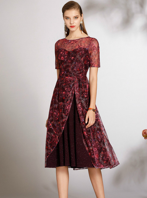 For This Year's Biggest Dance Burgundy Tulle Embroidery Short Sleeve Mother of the Bride Dress