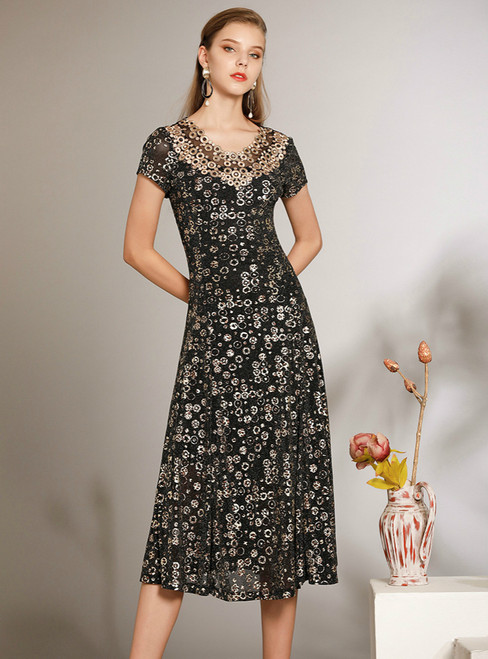 In One Step A-Line Black Sequins Tea Length Short Sleeve Mother of the Bride Dress