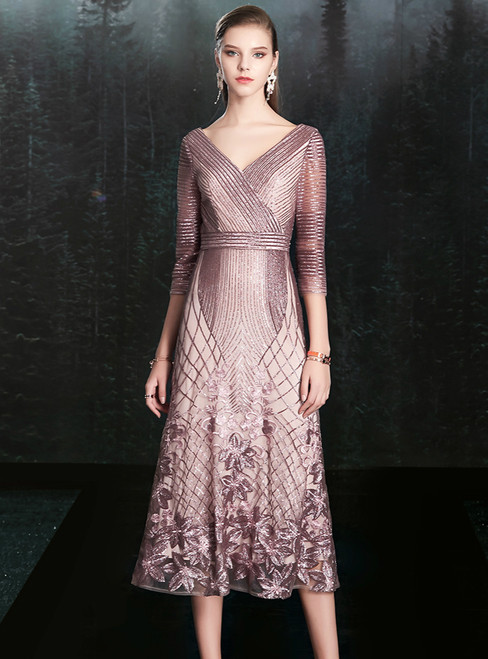 You'll Always Remember Wearing A-Line Pink Purple Sequins V-ncek 3/4 Sleeve Mother of the Bride Dress