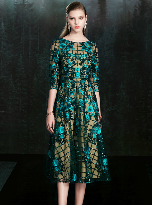 For The Very Best In Unique Or Custom. Blue Tulle Sequins Embroidery 3/4 Sleeve Mother of the Bride Dress
