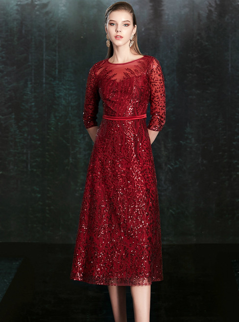 In Figure Flattering Styles For Every Silhouette A-Line Burgundy Sequins 3/4 Sleeve Mother of the Bride Dress