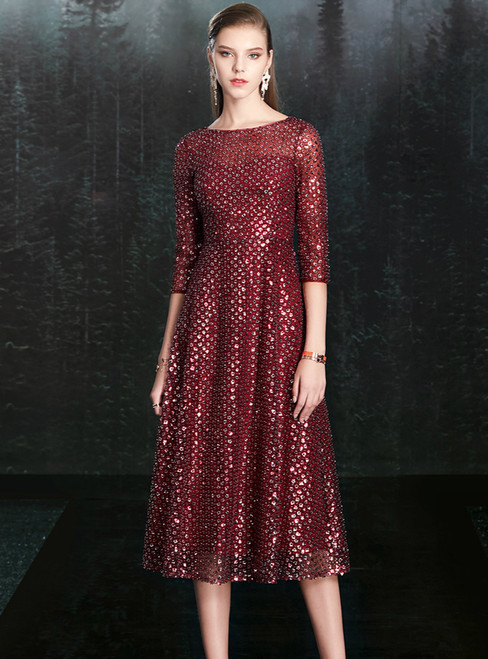 Just Be The One For You A-Line Burgundy Tulle Sequins Half Sleeve Mother of the Bride Dress