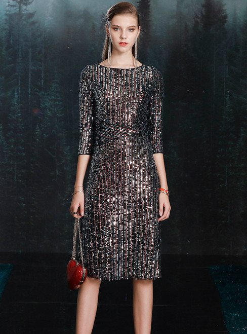 The Largest Variety Of Styles A-line Colorful Sequins 3/4 Sleeve Mother of the Bride Dress