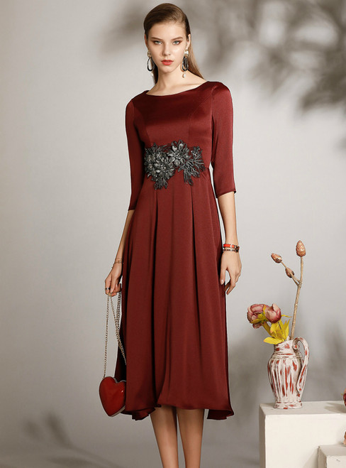 For You A-Line Burgundy Satin Half Sleeve Appliques Mother of the Bride Dress