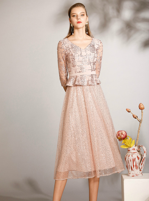 At Incredible Price A-Line Pink Tulle Sequins V-neck Half Sleeve Mother of the Bride Dress