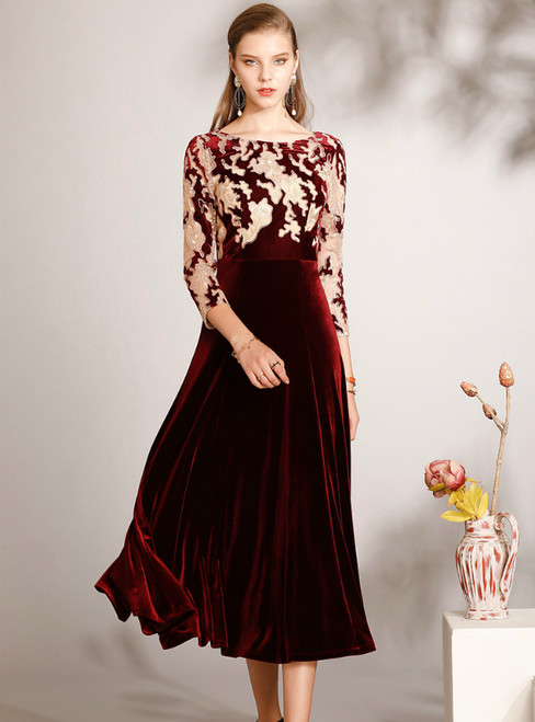 Purchase Your Favorite A-Line Burgundy Velvet 3/4 Sleeve Mother Of The Bride Dress