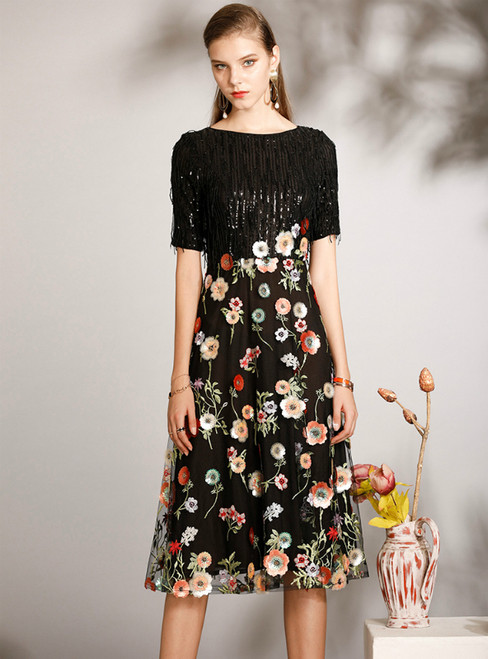 You Are Sure To Find The Perfect A-Line Black Sequins Short Sleeve Embroidery Mother Of The Bride Dress
