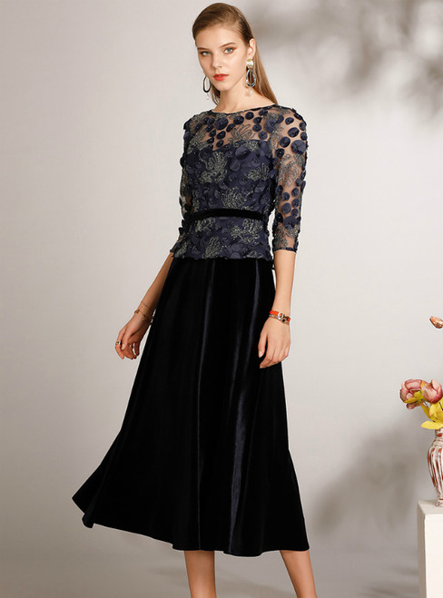 The Worldwide Shipping Online Store A-Line Navy Blue Velvet Half Sleeve Mother Of The Bride Dress