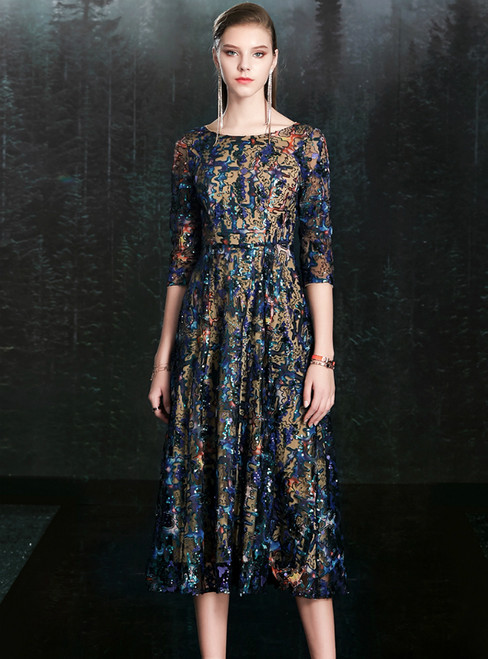 At Great Prices Colorful Sequins Half Sleeve Tea Length Mother Of The Bride Dress