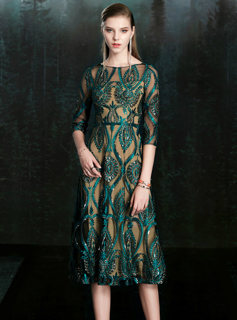For Your Big Night A-Line Green Sequins Tulle Half Sleeve Mother Of The Bride Dress