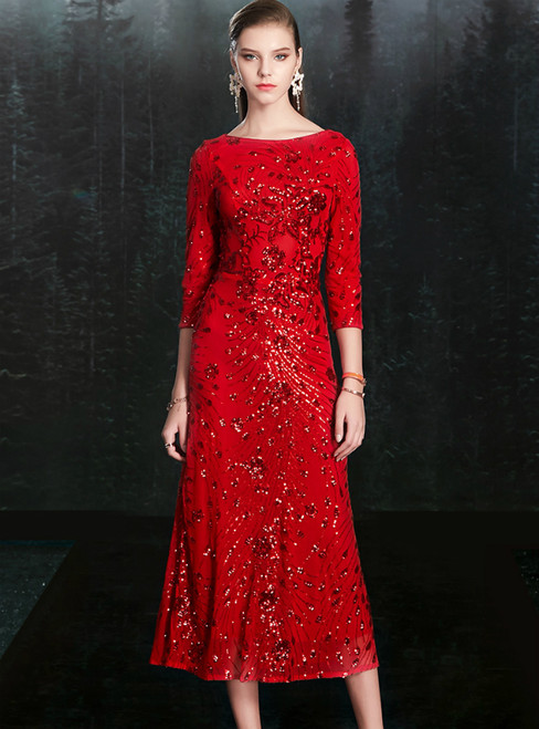Come In All Styles And Colors Red Sheath 3/4 Sleeve Tea Length Mother Of The Bride Dress